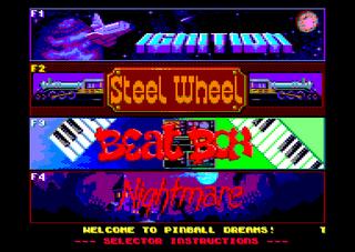 Amstrad CPC Caprice Forever Pinball Dreams Menu