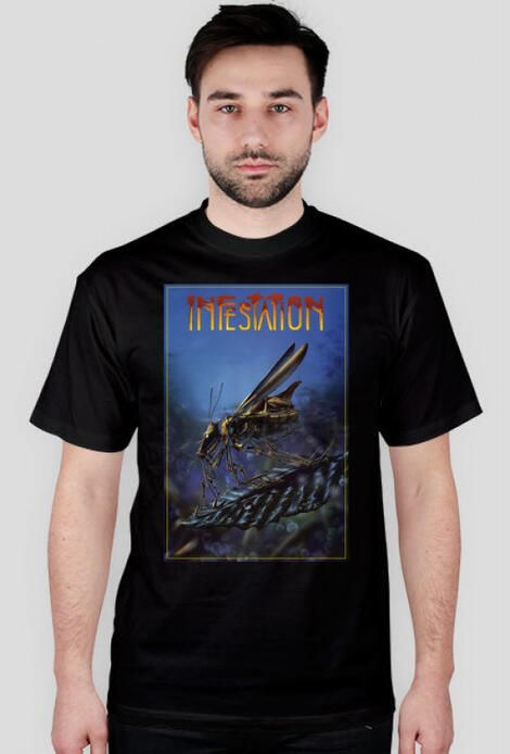 Retro T-Shirt Inestation Amiga Disc Cover - męski podkoszulek