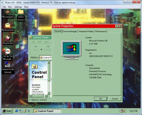 Pcemu GUI:Windows98